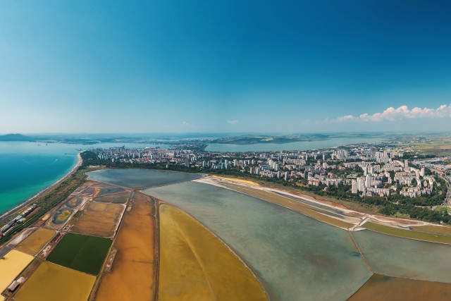 Aerial view of salt pans near Burgas,Bulgaria.
