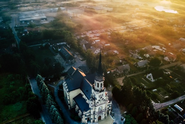 Church at summer sunrise, Naujoji Vilnia, Vilnius, Lithuania