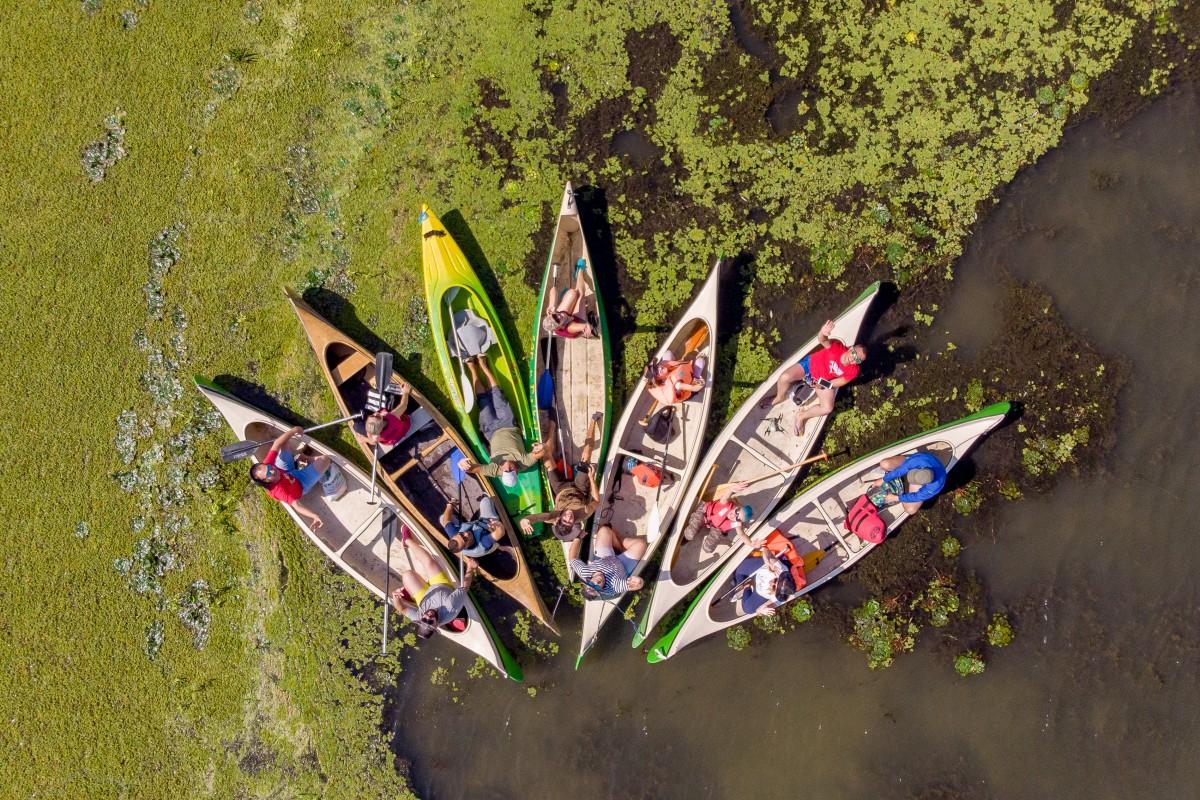Exploring the Danube Delta in canoes