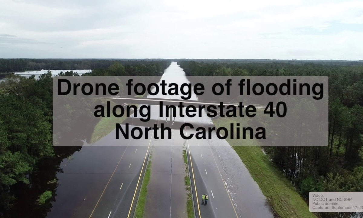 Drone video of North Carolina flooding along Interstate 40