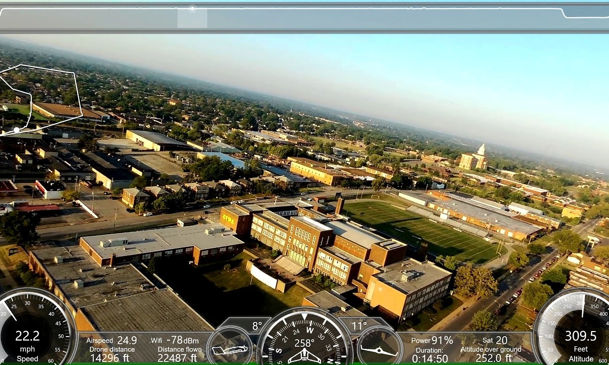 Parrot Disco 16 mile mission over St.Louis City