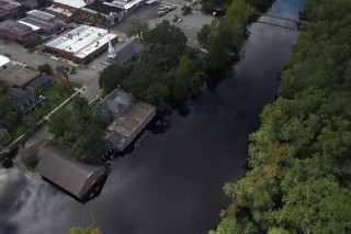 Drone video of flooding along Conway's riverfront