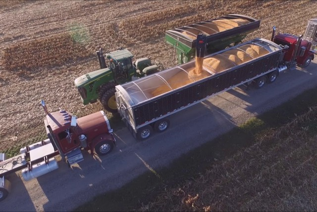 MYERS FARMS BROWNSVILLE, INDIANA SHELLING CORN SEPT 30, 2017 DRONE VIDEO