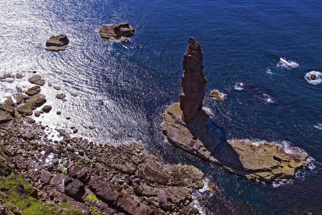 Sea Stack sandwood bay Scotland aerial image Aaron Sneddon