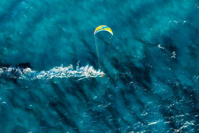 Kite surfing in Sardinia.