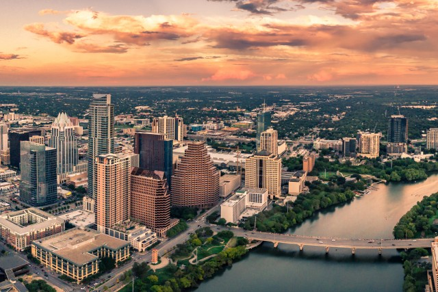 Austin at sunset time