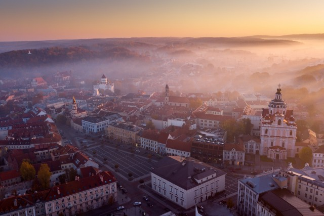 October Sunrise Mist in Vilnius Oldtown, Lithuania