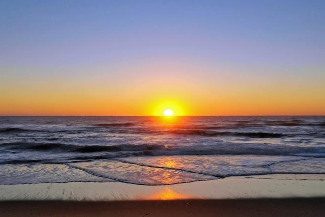 Sunset Beach Ocean Atlantique, La lette Blanche, Landes France.