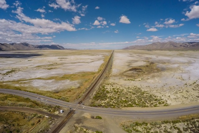 Tracks across the Black Rock Desert
