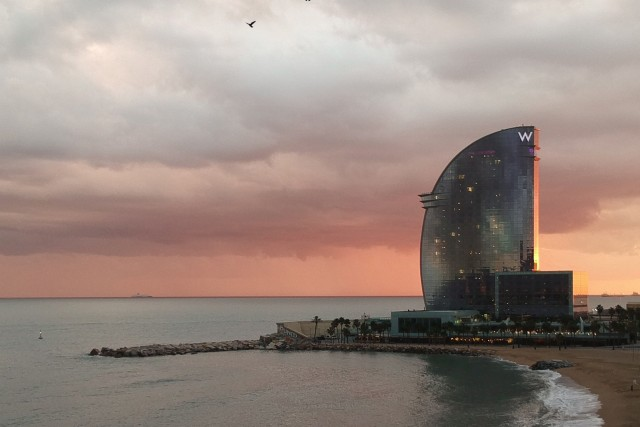 Sunset at W Hotel, Barcelona, Spain