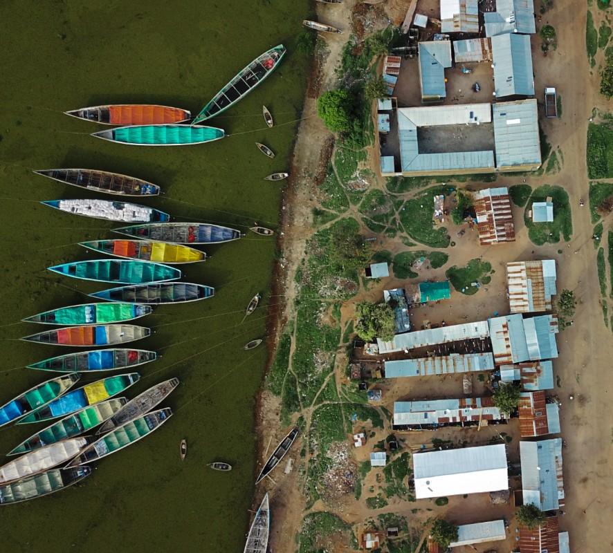 Fishing boats in Ntoroko, Uganda