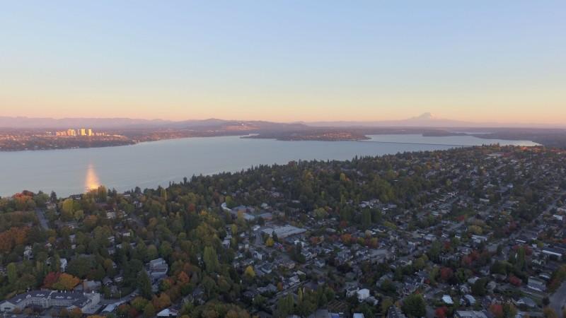 Mt. Rainier & Bellevue at sunset