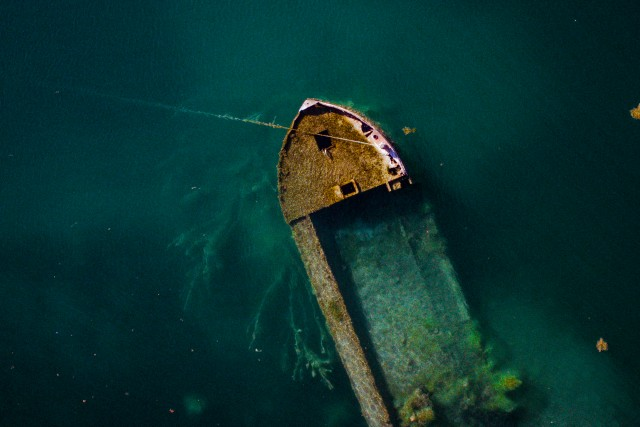 Shipwreck in a lake