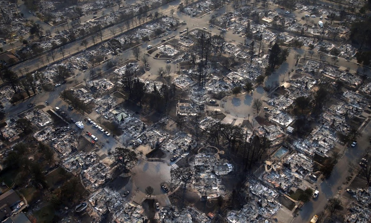Drone footage shows a city in ruins as California fires continue to rage