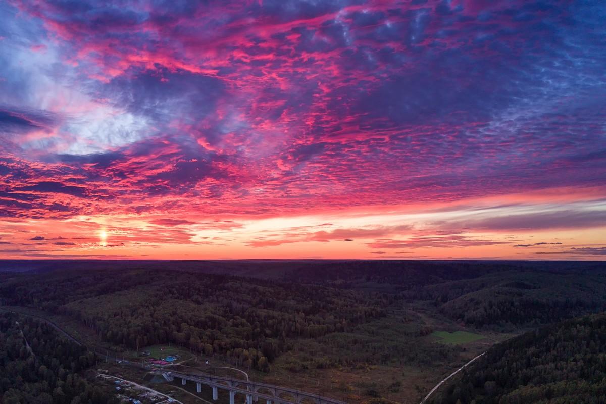 Pink autumn sunset