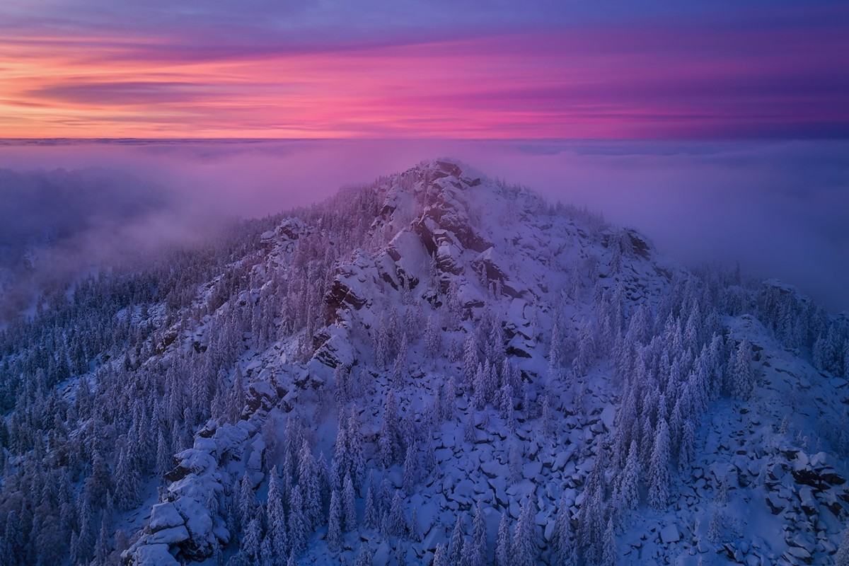 Watercolor evening on a winter mountain