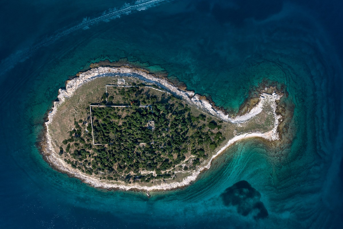 Fish shaped island in Croatia