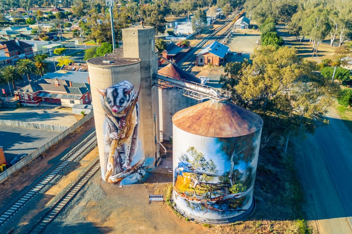 Rochester Silo Art | Artist Jimmy DVate | Bendigo Aerial