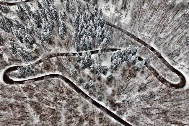 Carpathian mountains road in Romania
