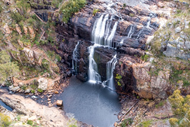 View from the sky of an awesome falls in the national park The Grampians.