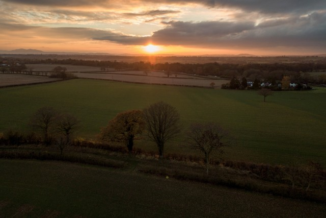 Worcestershire sunset and shadows