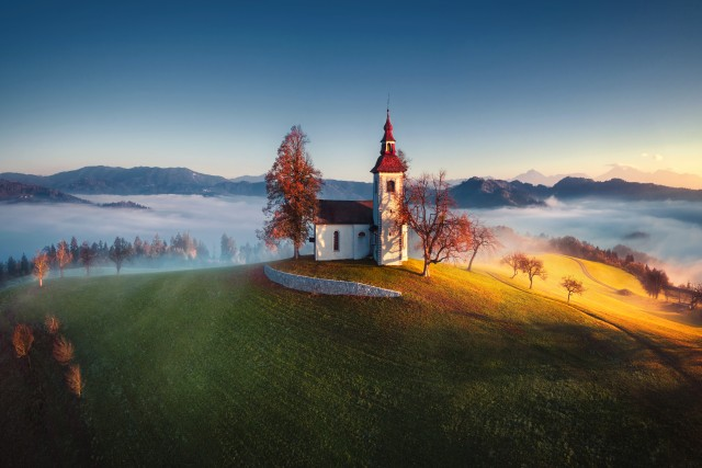 Aerial view of Saint Tomas church, Slovenia.