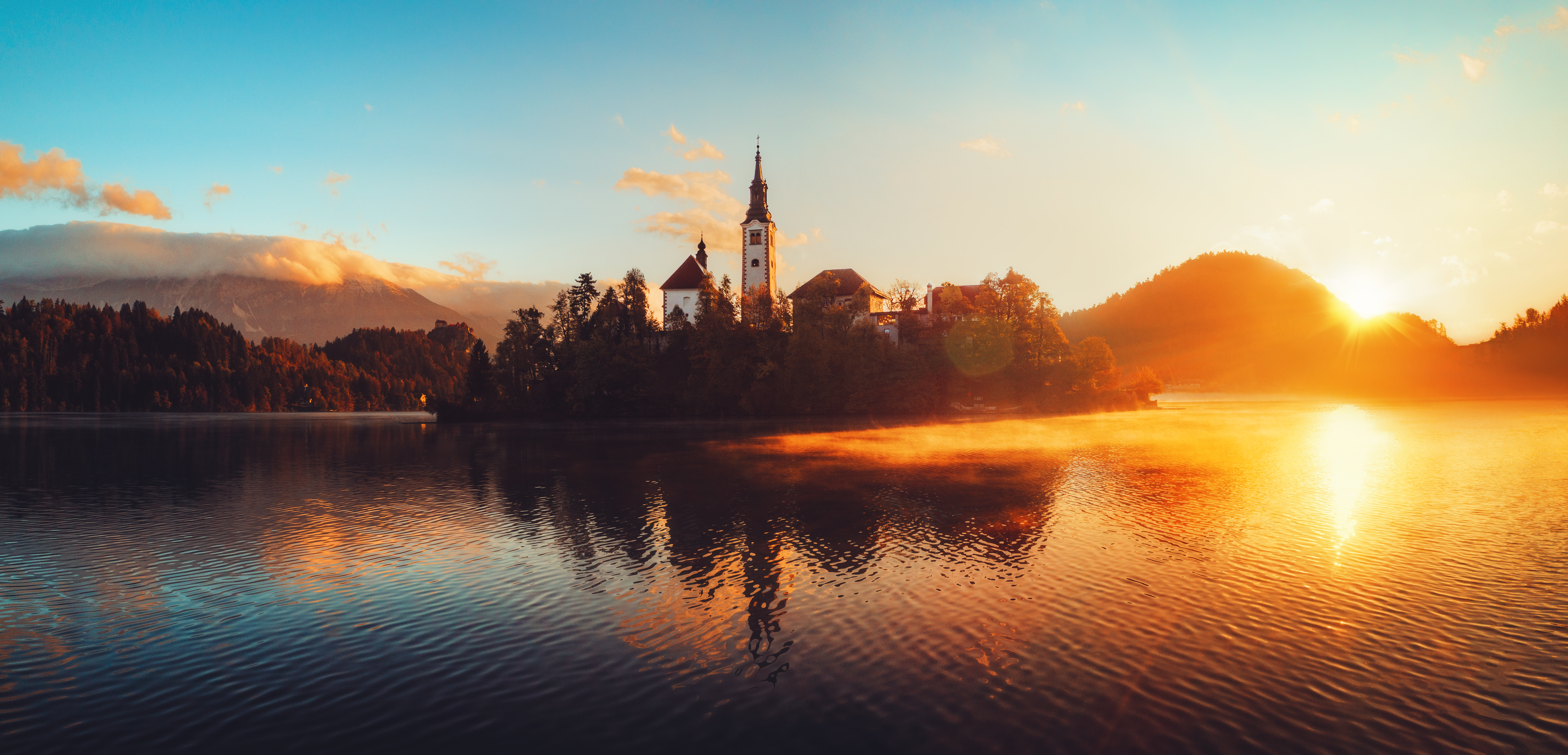 Aerial view of church of Assumption in Lake Bled, Slovenia.