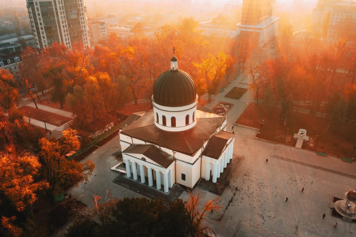 Sunrise in Chisinau Central Park, Chisinau, Moldova Republic