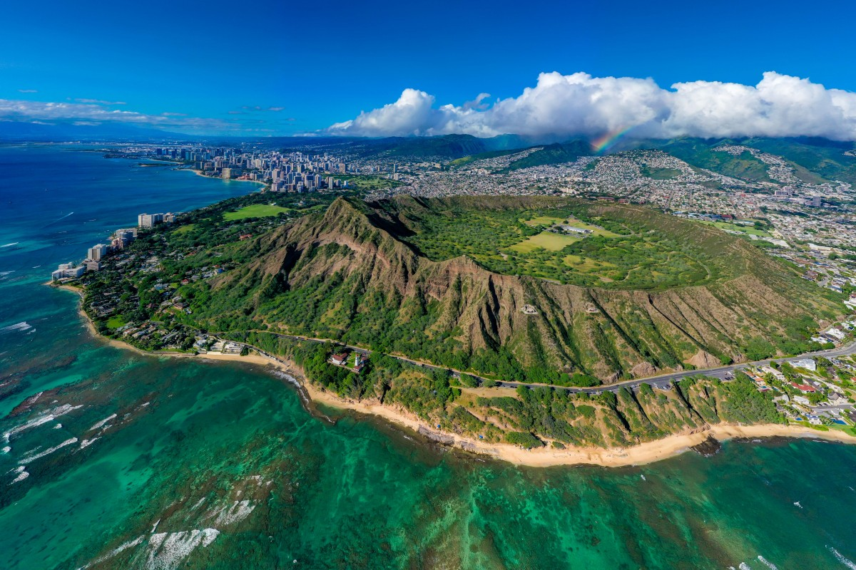 Bright as a Diamond. Rainbow behind Diamond Head Crater, Honolulu, Hawaii