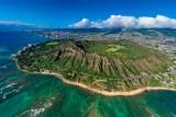 Bright as a Diamond. Rainbow behind Diamond Head Crater, Honolulu, Hawaii