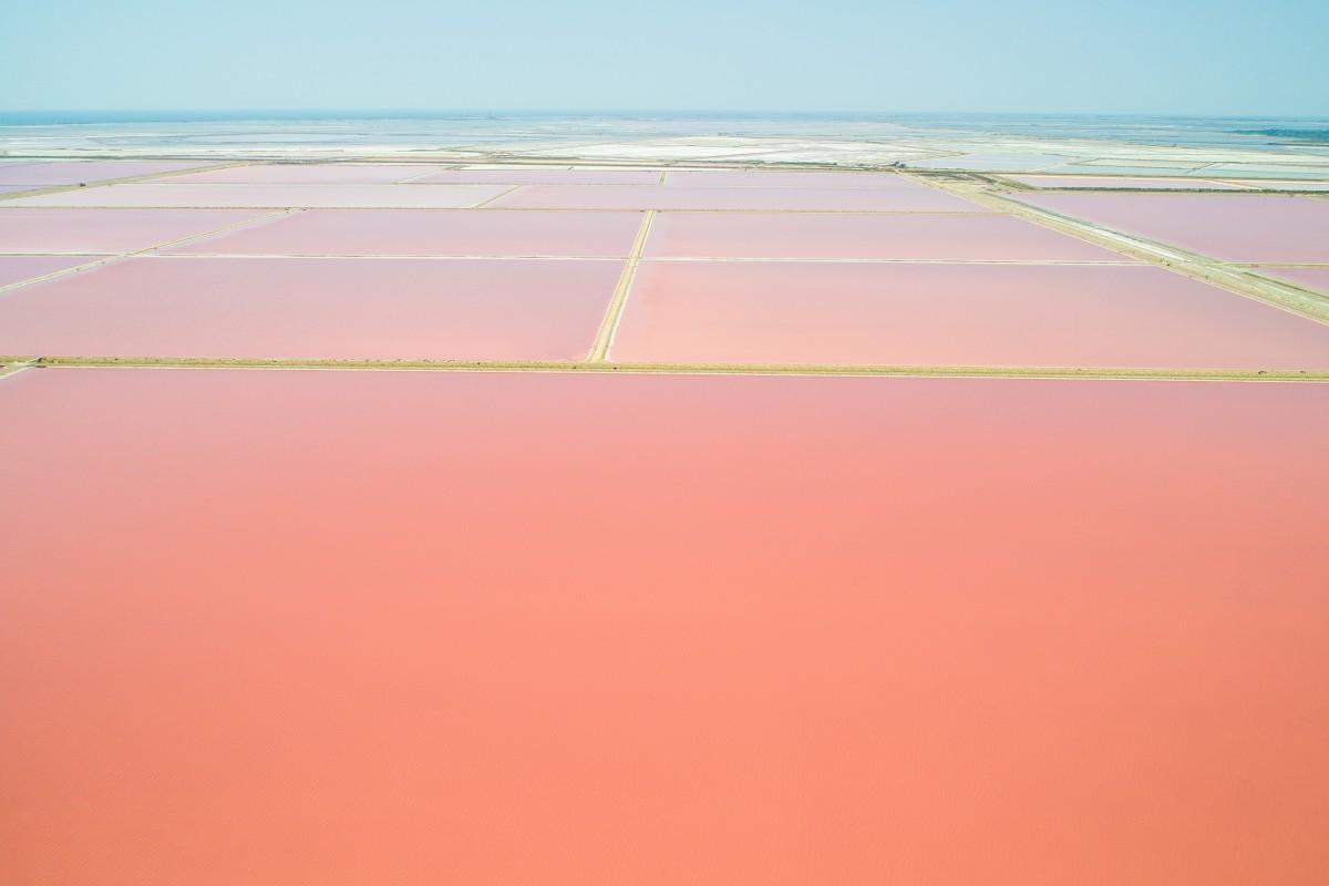 Pink salt lakes