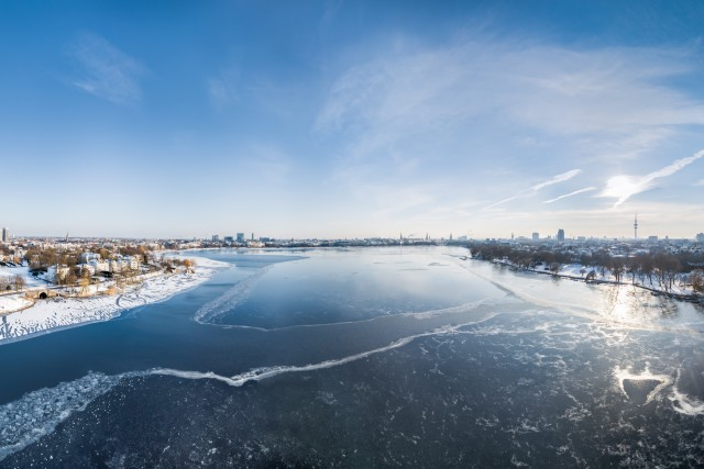 Frozen Alster Lake Aerial HDR Panorama