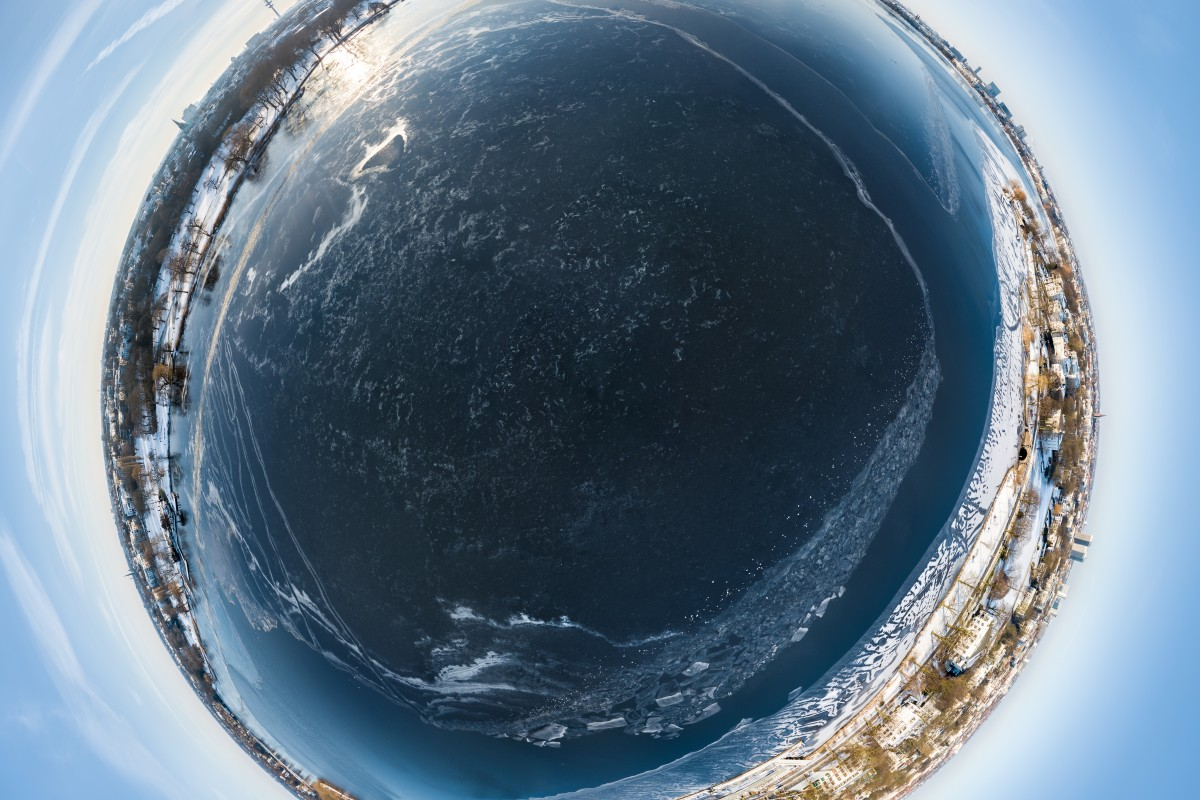 Hamburg frozen Alster Lake Little Planet HDR