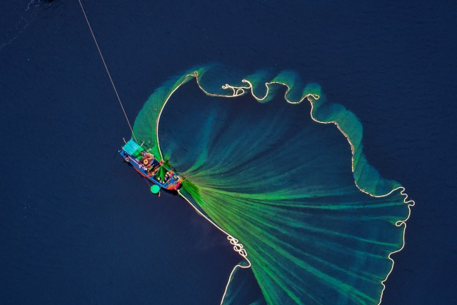 Harvesting shrimp on the sea