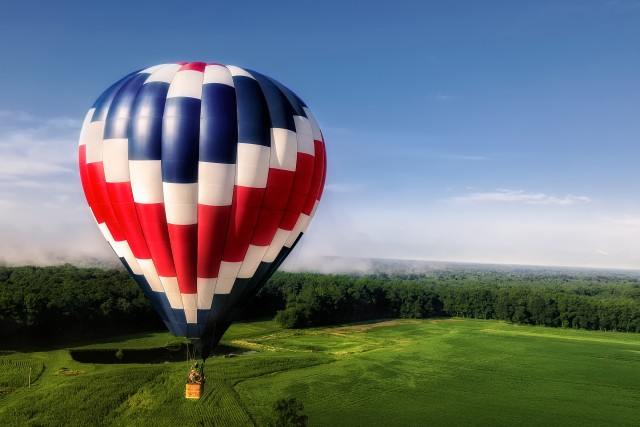 US Flag Themed Hot Air Balloon in Flight