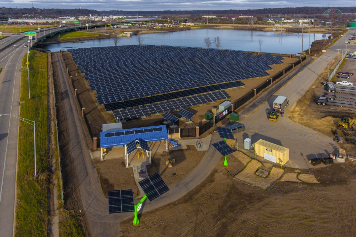 Solar Panels lead to the Mississippi River