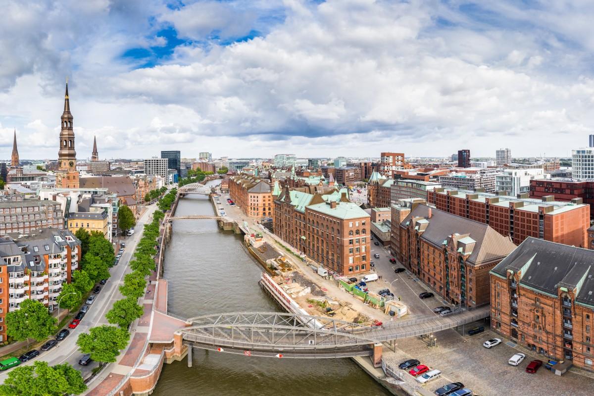 Hamburg Speicherstadt Aerial View HDR Panorama