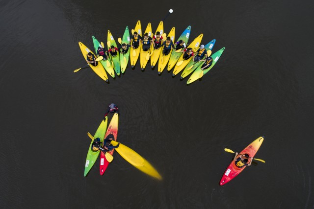 Learning canoe in the reservoir.