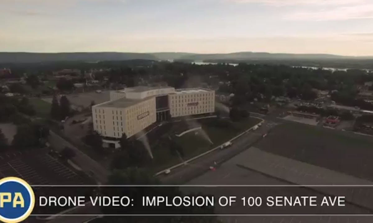 Drone Video: Implosion Of 100 Senate Ave, the Senate Plaza building near Camp Hill