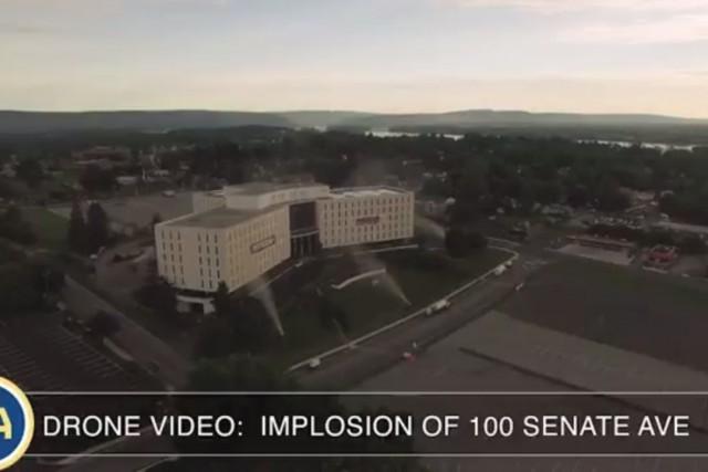 Drone Video: Implosion Of 100 Senate Ave, the Senate Plaza building near Camp Hill