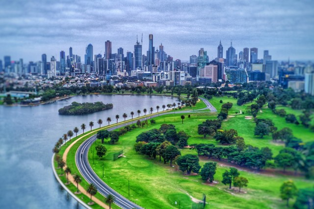 Albert Park Lake and Melbourne CBD