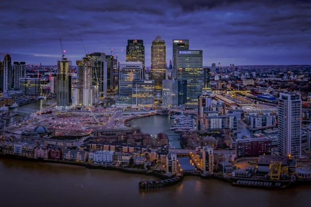 Canary Wharf at Night, London, UK