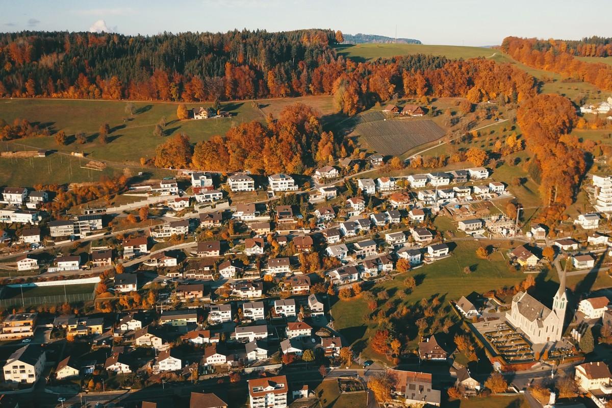 Red village in Autumn