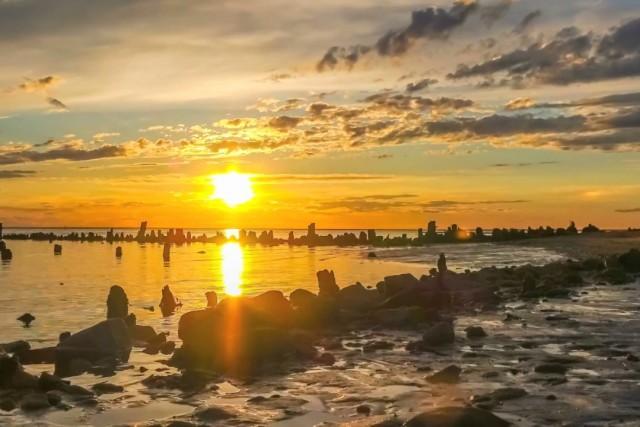 Sunset over the lake Elton