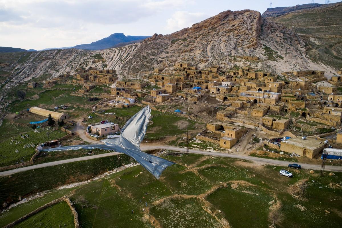 Pigeon kite with ancient village landscape, Mardin