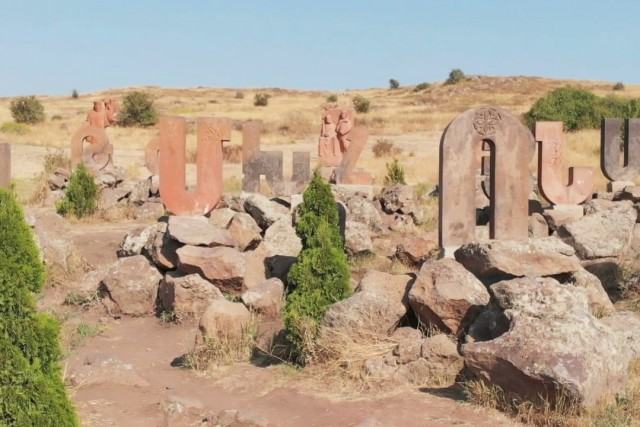 The monument to the Armenian alphabet (literally – Park of letters) is located in the village of Artashavan on the eastern slope of Mount Aragats.