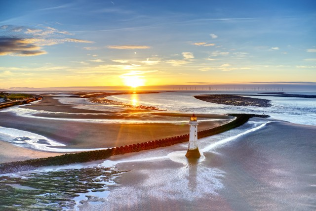 New Brighton Lighthouse Sunset, UK
