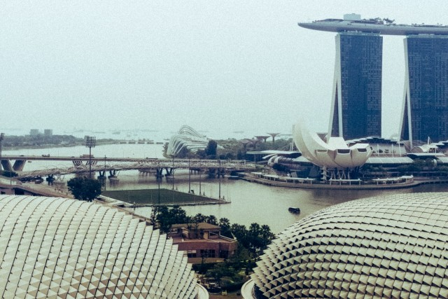 Esplanade (Durian building) in Singapore, with Singapore Flyer and Marina Bay Sands in background