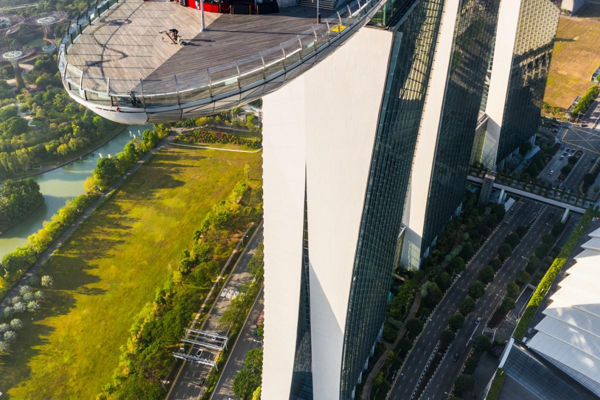 Rooftop bar at Marina Bay Hotel, Singapore. Vertical Panorama