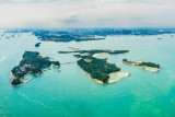 St John's, Lazarus and Seringat islands in Singapore. Panoramic Shot.